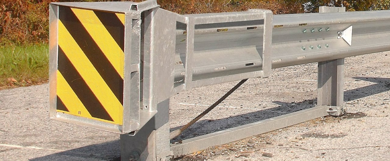 fleat end terminal attachement to w beam guardrail