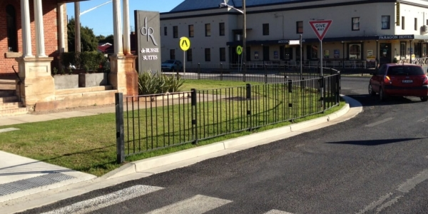 pedestrian fencing for pedestrian lane protection