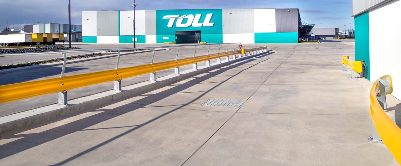 toll warehouse rhino stop safety barrier project