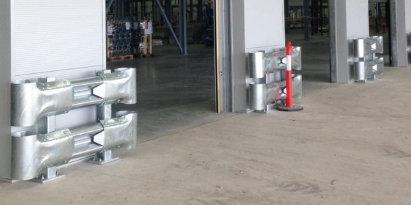 double rail rigid posts warehouse safety barriers