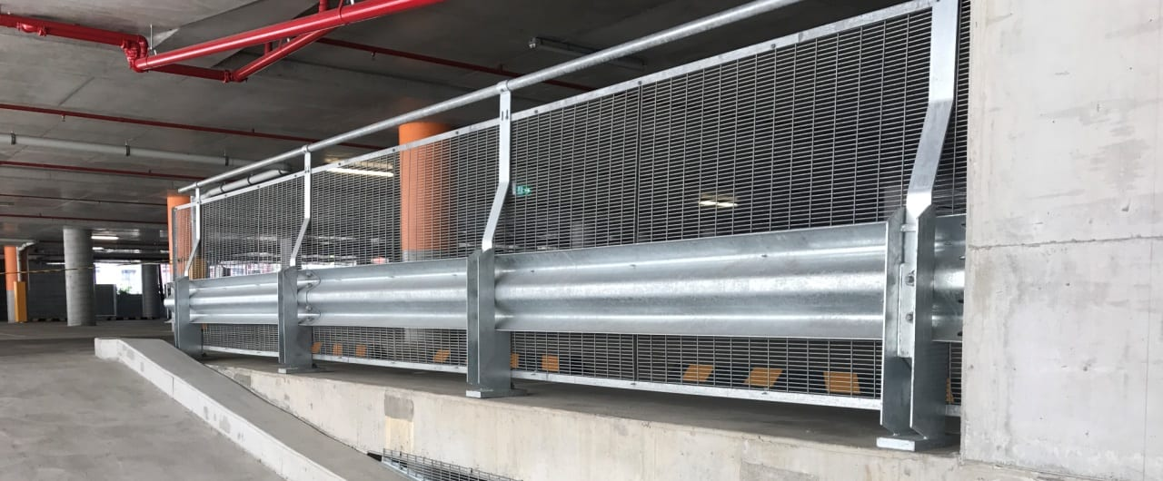 connect corporate centre carpark split level protection with rhino stop