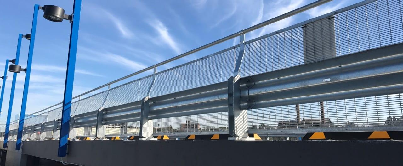 rhino stop sky edge perimeter protection on sydney superyacht marina car park