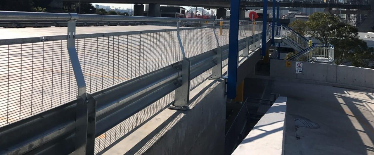 sydney superyact marina car park perimeter edge protection with rhino stop sky edge
