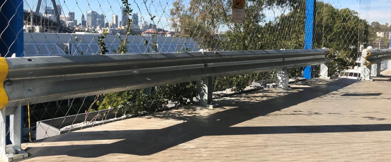 rhino stop with yellow end cap safety barrier installation at sydney superyacht marina
