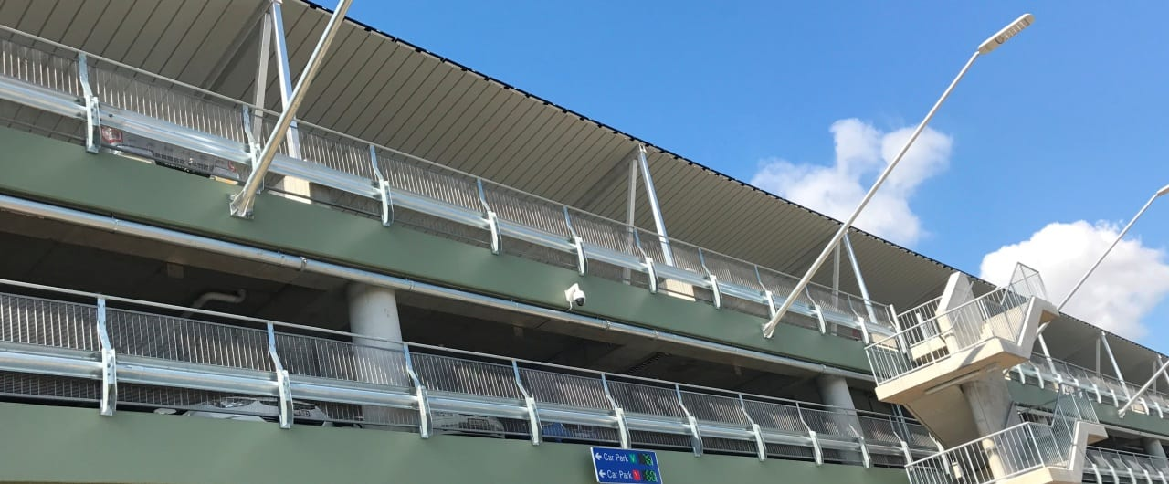 rhino stop sky edge type 6 asfety barrier perimeter edge protection on sydney market car park