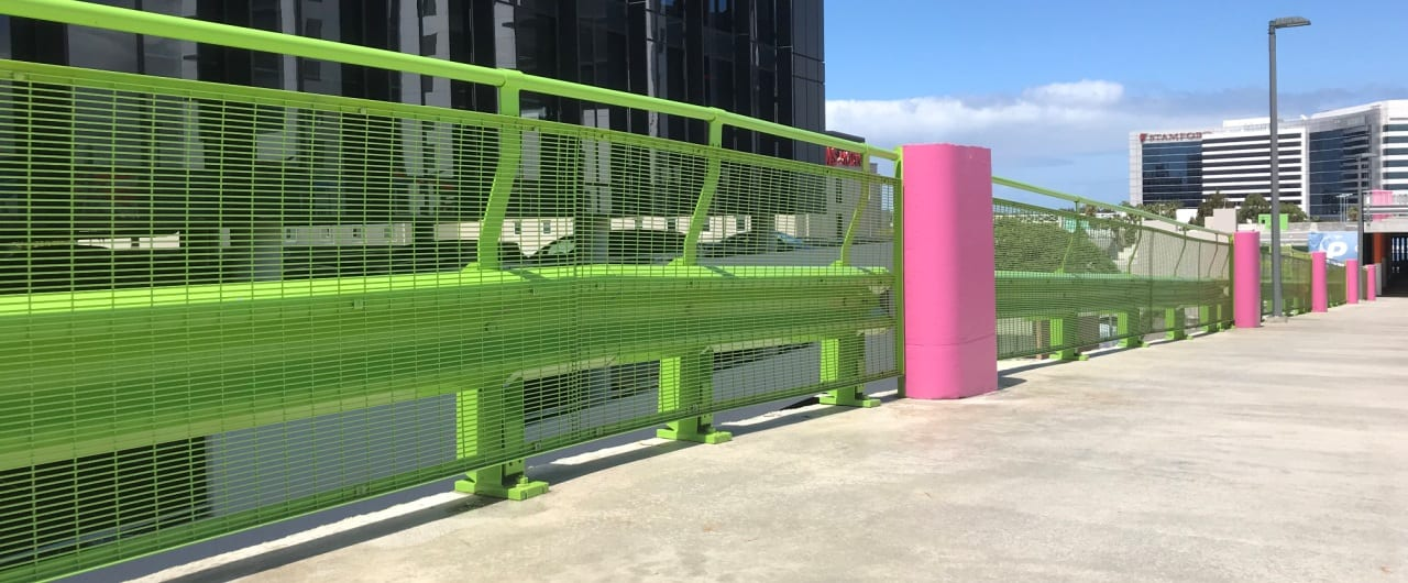 green colour rhino stop travelodge sydney airport car park safety barrier