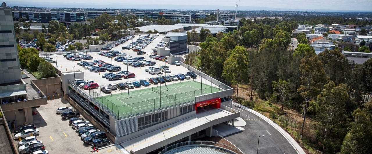 upper floor view of woolworths car park safety barrier project