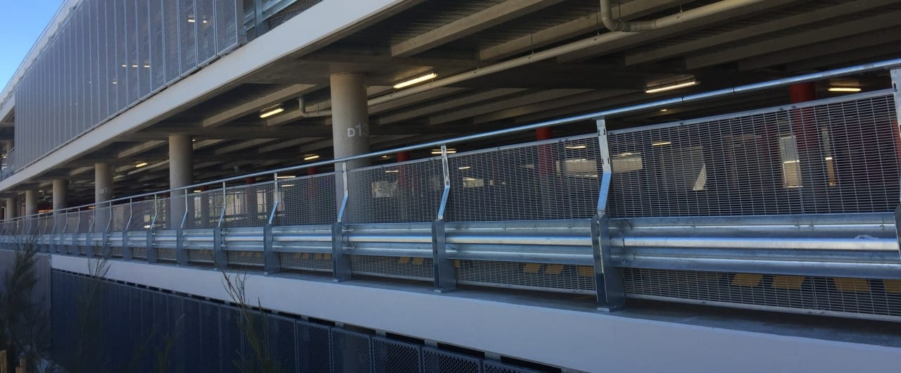 woolworths car park with rhino stop type 6 safety barrier system