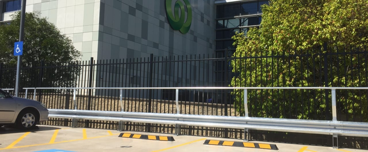 rhino stop type 5 woolworths car park safety barrier project