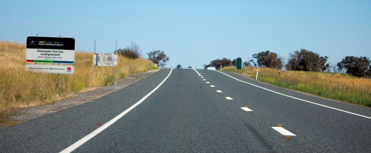 road guardrail barrier project on barton highway at murrumbateman