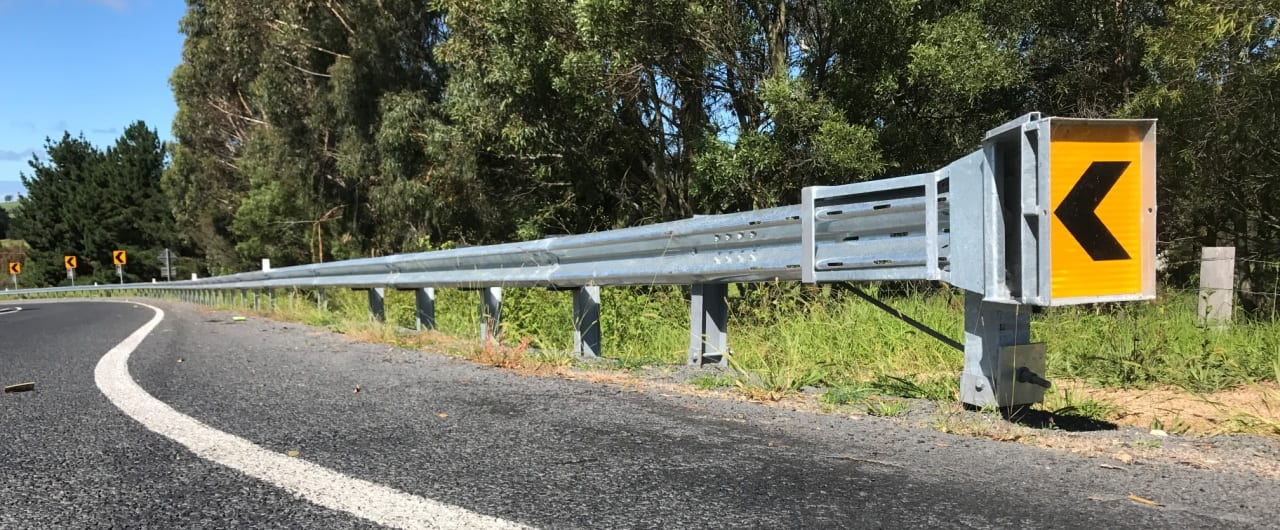 w beam guardrail and fleat end terminal installation on barton highway