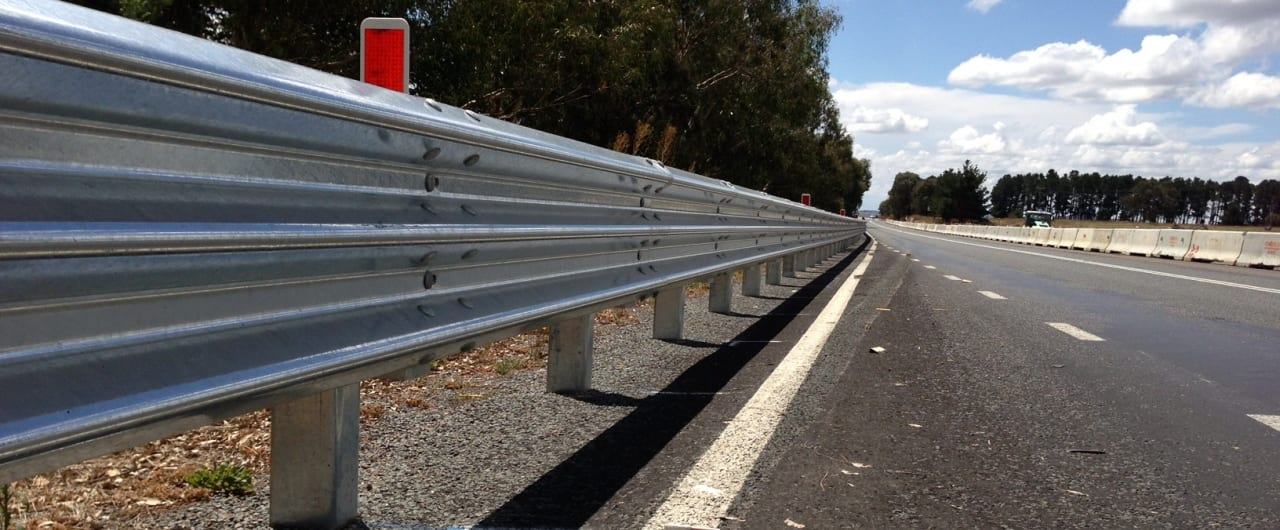 thrie beam guardail installation on barton highway at murrumbateman
