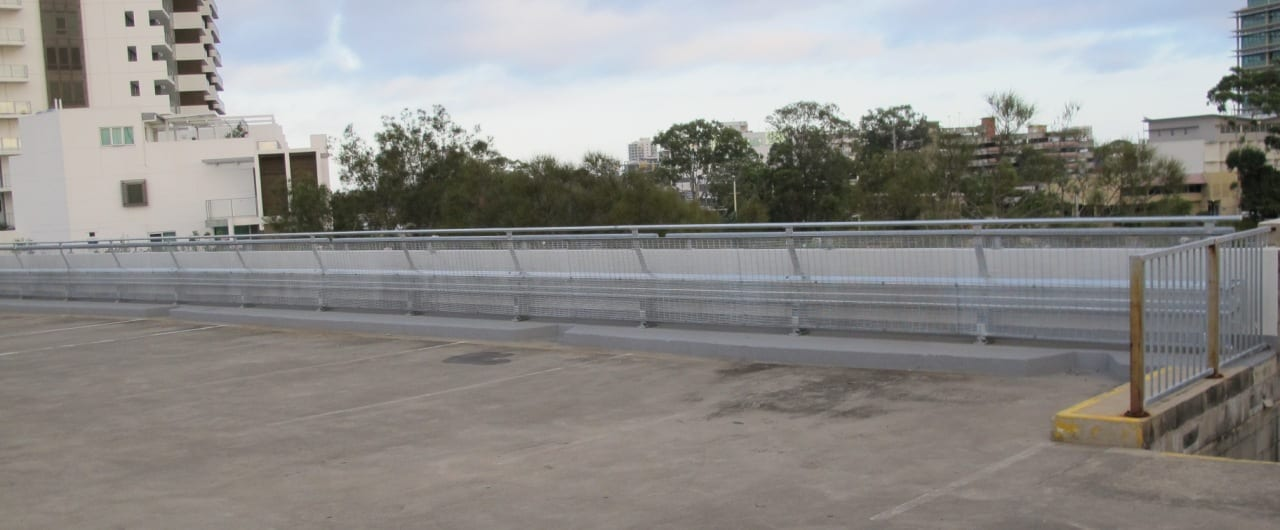 rhino stop type 4 safety barrier installed at big top shopping centre carpark