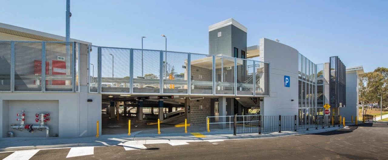 3 split levels of car parking with car park safety barrier at canley vale