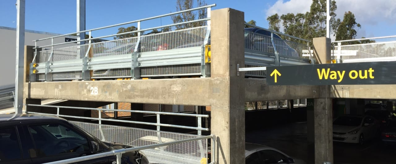 canley vale commuter carpark perimeter edge protection with rhino stop safety barrier