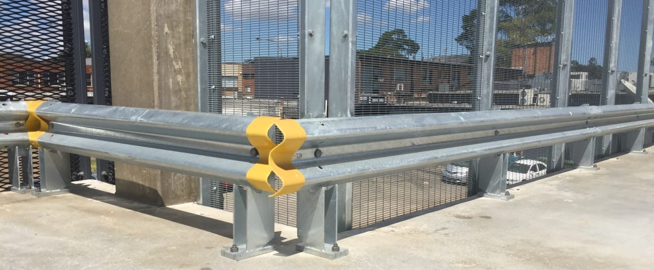 rhino stop with yellow and cap acessory installed at canley vale commuter carpark