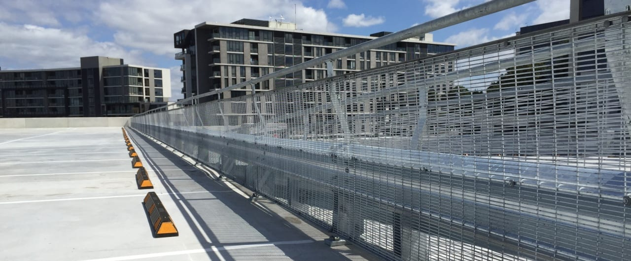 rhino stop type 4 installed at the top level on coles tooronga carpark