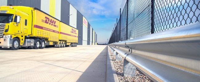 dhl facility access road protection with rhino stop car park barrier