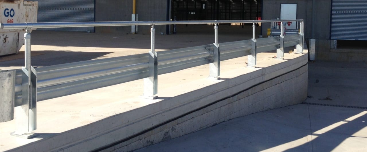 dhl facility ramp protection with rhino stop safety barrier