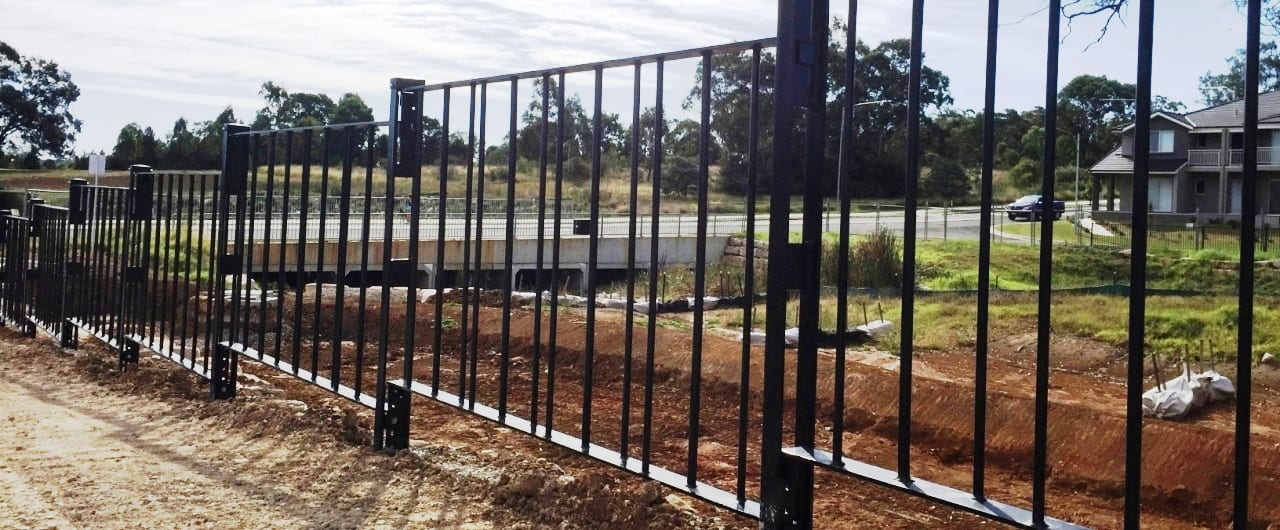 hot dip galvanised and powder-coated black pedestrian fencing at eldreslie