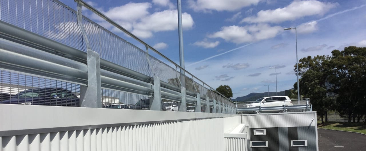 back view of rhino stop safety barrier installed at endeavour energy carpark