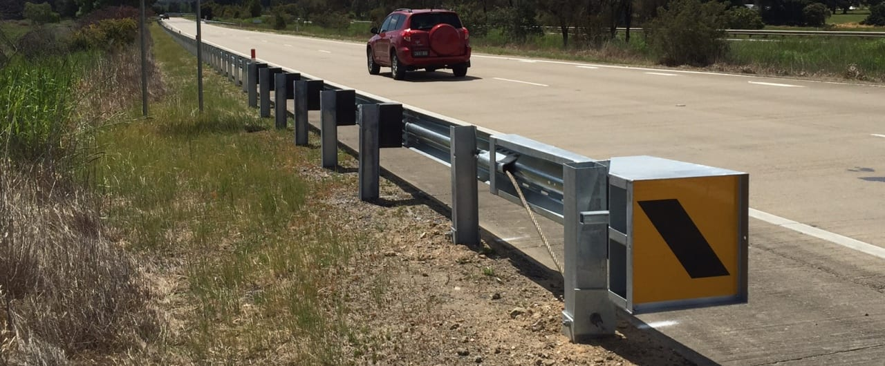 narrow system width ramshield guardrail installation at hume highway
