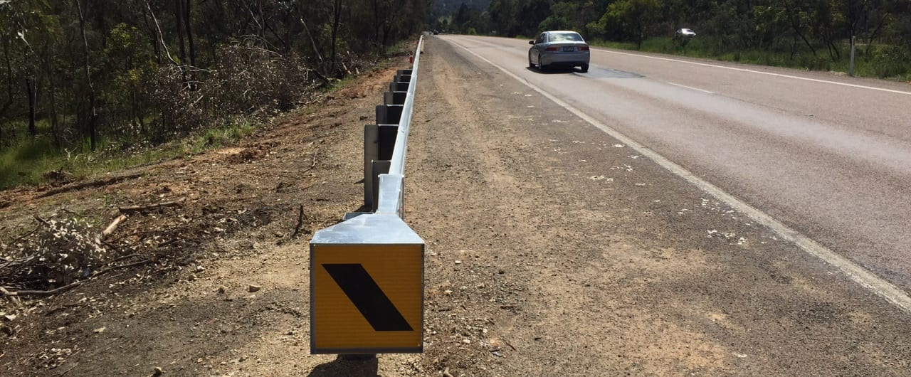 ramshield guardrail with end terminal safety barrier on hume highway
