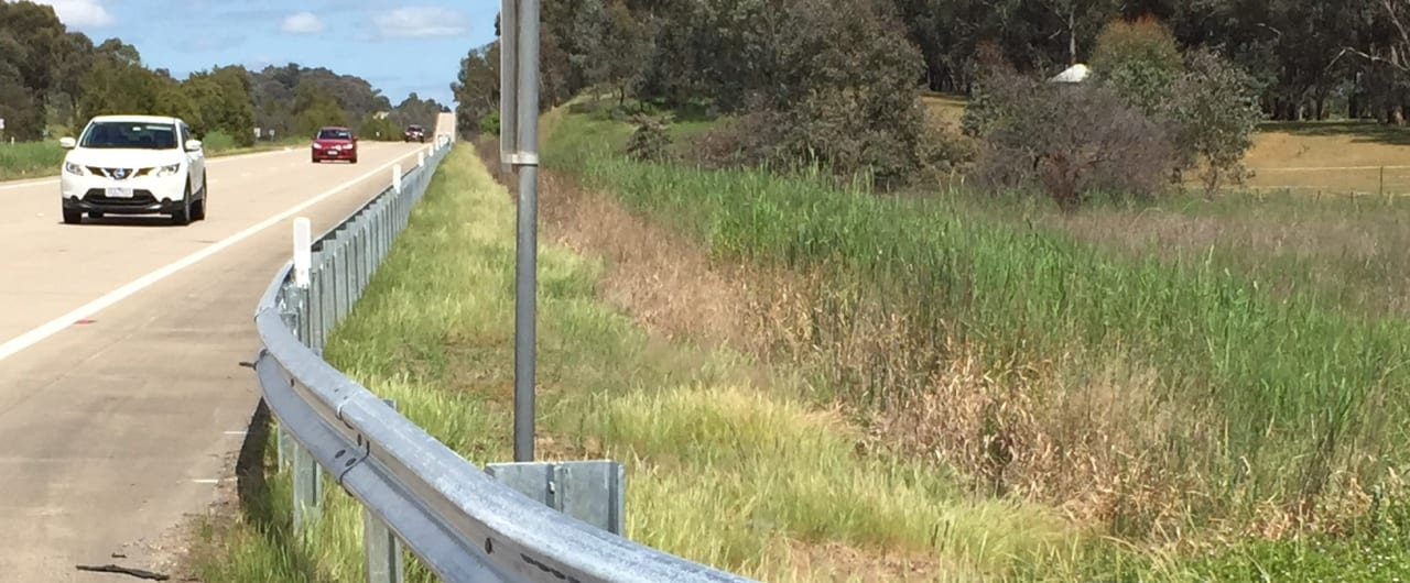 hume highway with ramshield guardrail road safety barrier