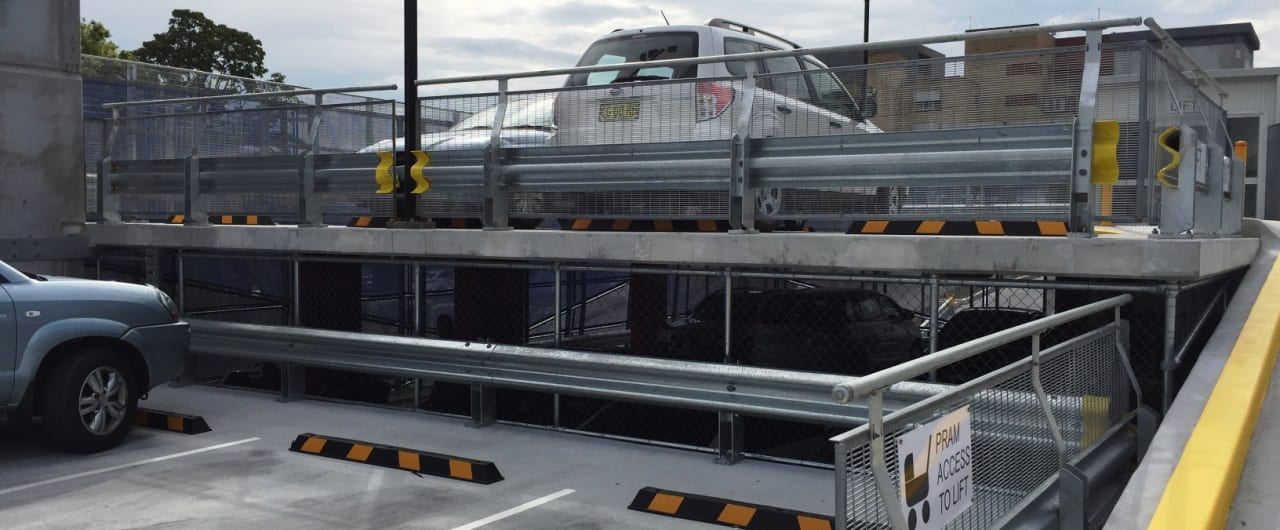 lismore hospital carpark split level protection with rhino stop