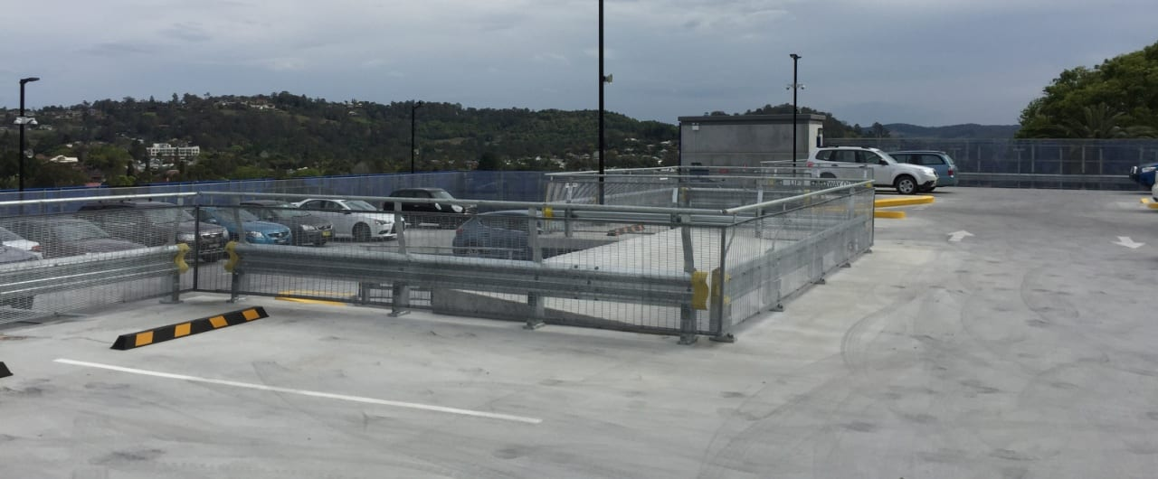 rhino stop type 4 installed at the top level on lismore hospital car park