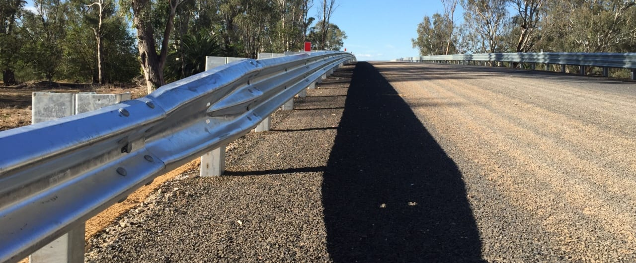 w beam to thrie beam guardrail transition installation at narrabri bridge