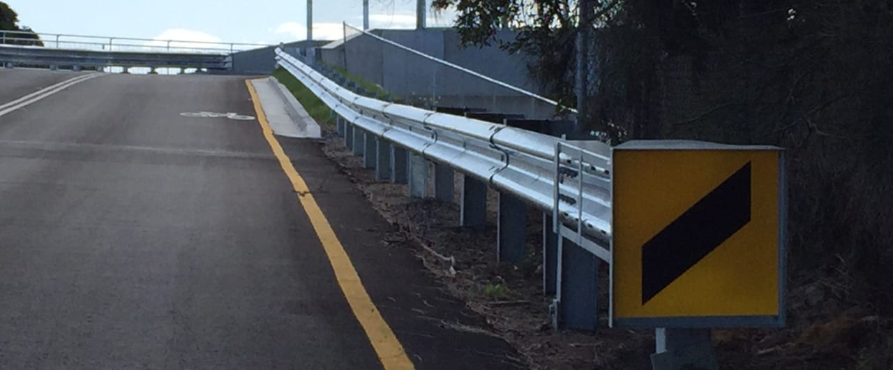 end terminals to safely anchor the guardrail system on newcastle bridge