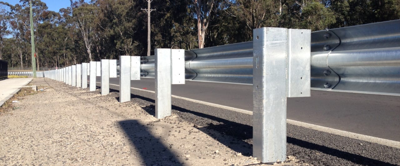 w beam guardrail systems installation at reconciliation road