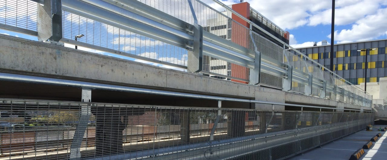 1400m of rhino stop car park barrier project at royal north shore hospital car park