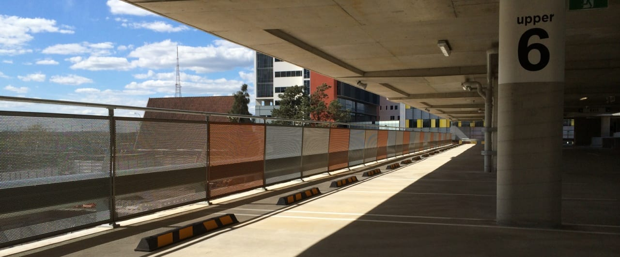 rhino stop sky edge perimeter edge protection with perforated infill panel and handrail