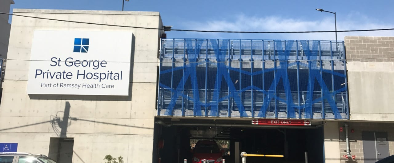 3 levels car park safety barrier system project at st george hospital