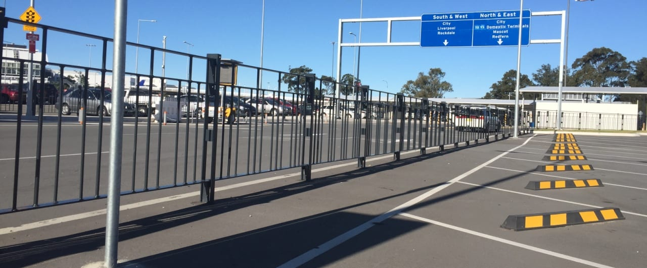 heavy duty panel pedestrian fencing on sydney airport car park