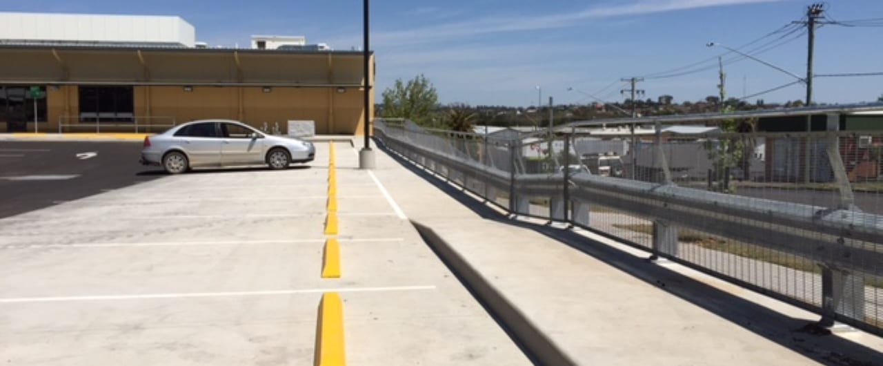 rhino stop type 4 safety barrier installation on tamworth retail development car park