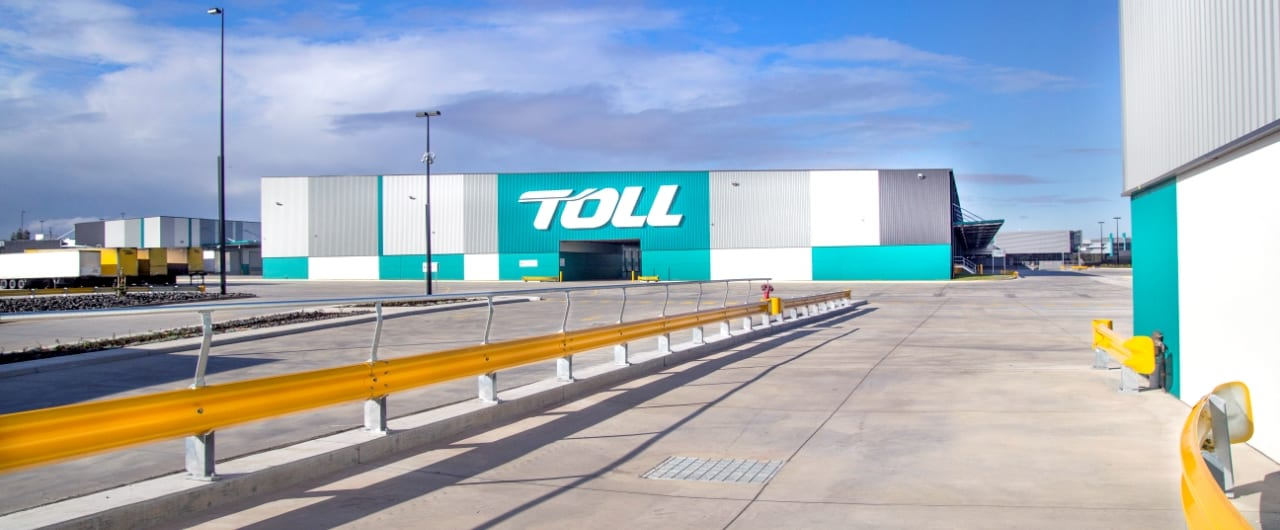 rhino stop safety barrier system project at toll ipec distribution facility