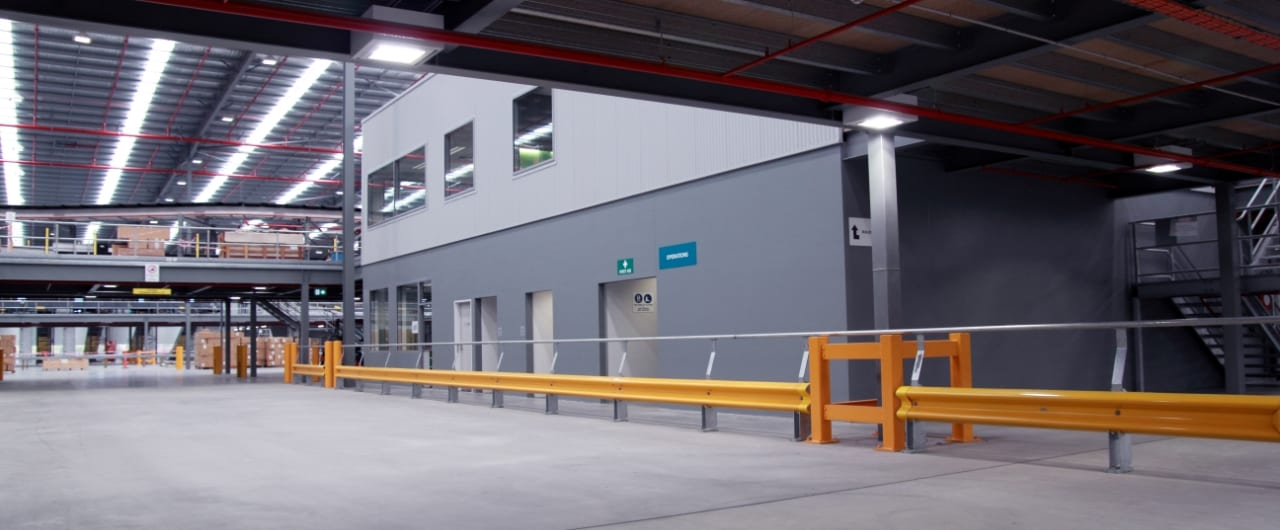 rhino stop type 1 safety barrier inside toll warehouse