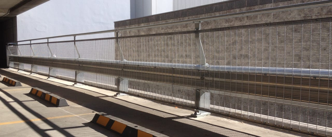 wollongong council car park rhino stop barrier configured with mesh infill and handrail