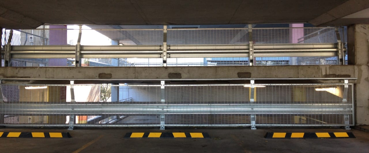 wollongong council car park split level protection with rhino stop