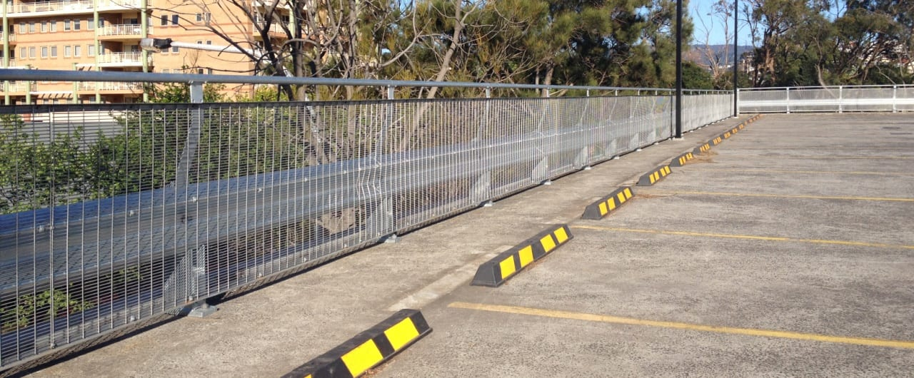 1,000m of rhino stop car park barrier installation st wollongong council car park