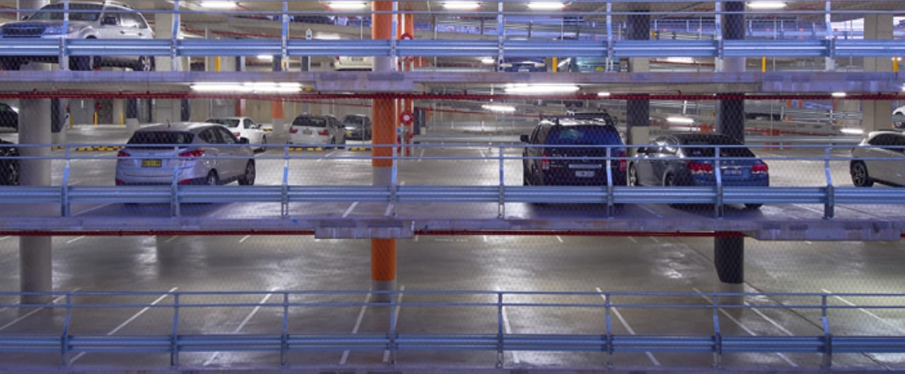 6 level car parking safety barrier project at wollongong hospital car park