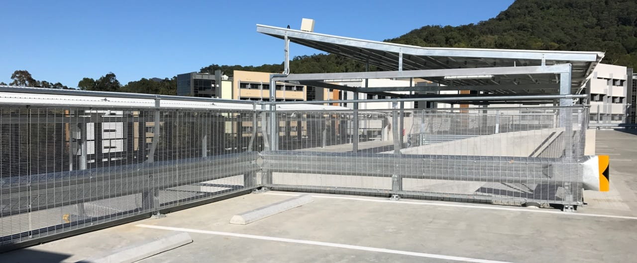 rhino stop type 5 installation at the top level of wollongong car park