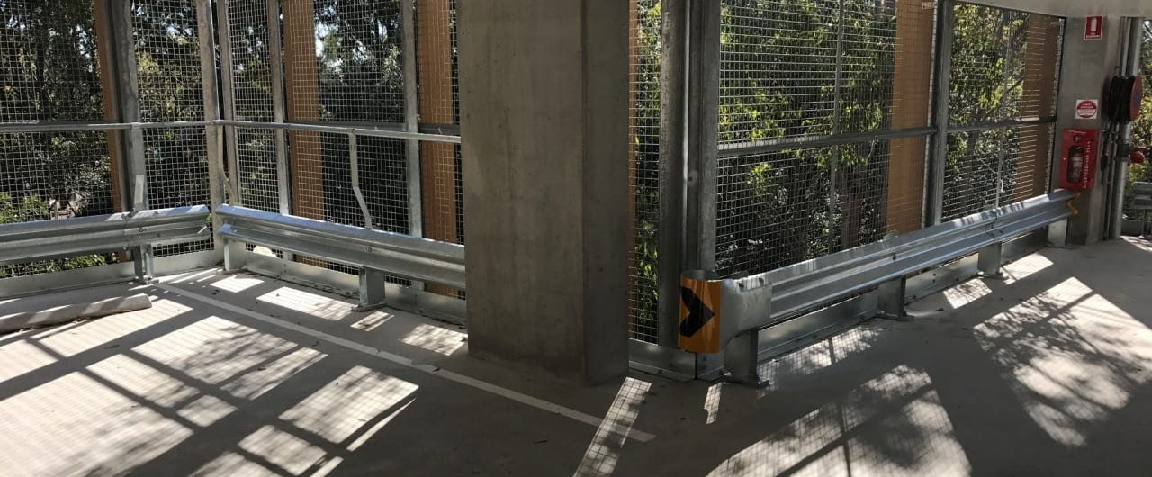 rhino stop with short bullnose accessory installation at wollongong car park