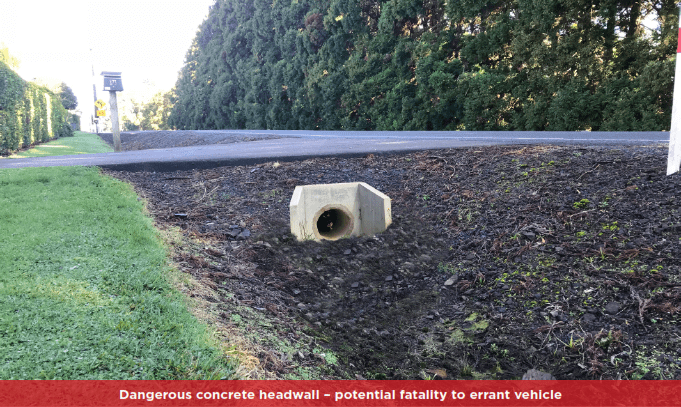 concrete headwall unsafe culvert end
