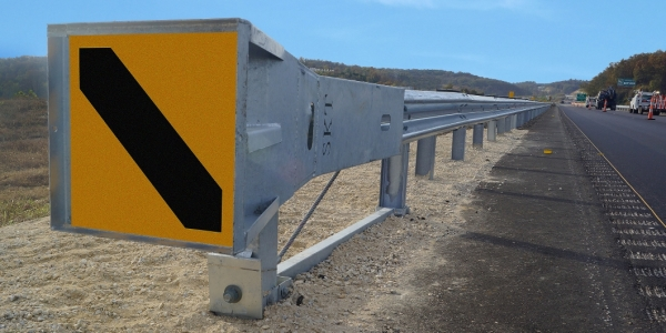 road safety barrier attached with mash skt end terminal
