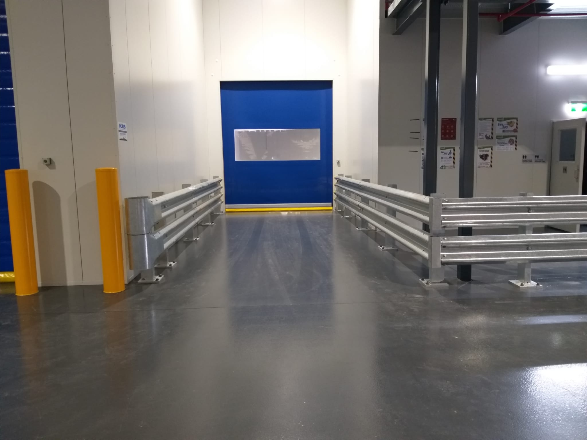 inside warehouse safety barrier with rhino stop truck guard