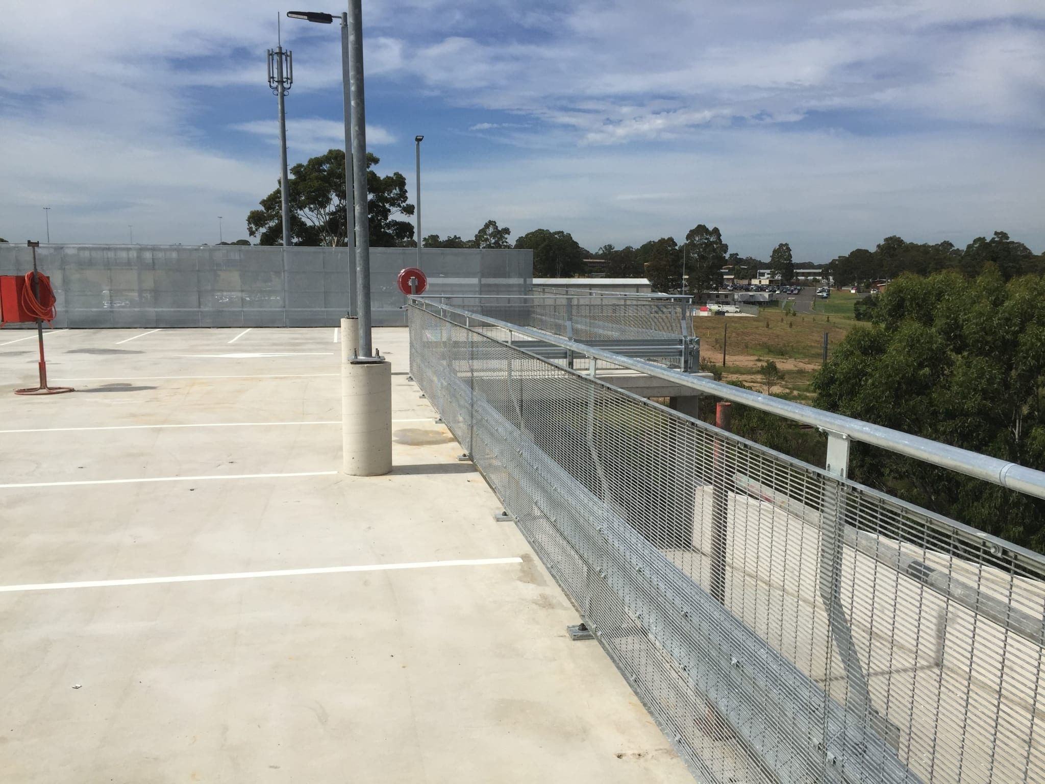 rhino stop screen installed at the top floor on holsworthy commuter car park